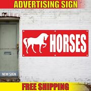 Horses Advertising Banner Vinyl Mesh Decal Sign Stable Shoes Riding Rodeo Farm