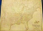 Rare Large Map Of The United States 1822 Detailed Frameable Collectible