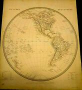 Antique Map Of The Eastern And Western Hemisphere 1842