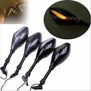 Motorcycle Led Integrated Turn Signals Rearview Mirrors 10mm 8mm For Street Bike