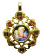 Nice 17th Century Gold And Ruby Jewelled Pendant Enamel Of The Virgin Mary Rare