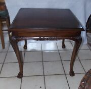 Mahogany Carved End Table / Side Table By Baker T584
