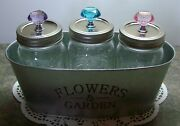 Set Of 3 Ball Mason Canning Jars W/ Glass Knobs In Tin Flower Planter, 7 Colors