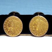 Solid 14k Yellow Gold And 1912 2.50 Indian Head Gold Coin Link Type Cufflinks