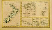 Antique Map Of New Zealand, Tonga, Feejee, Galapacos, Society, And Marquesas1860