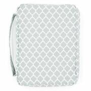 Bible Cover For Girls Trellis Pattern Book Carrier With Pocket And Handle Gray