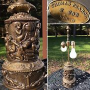Antique Victorian Bronze Cherub Lamp 19th French By Thomas Pearce And Son Of Paris
