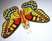 Vintage Mechanical Flapping Butterfly Tin Toy Japan Yone Litho Needs Maintenance
