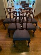 Vintage Chippendale Rococo Style Dining Room Chairs Set Of Six Navy Cushions