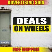 Deals On Wheels Advertising Banner Vinyl Mesh Decal Sign Auto Car Truck Trailer