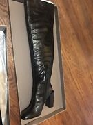 New In Box Bcbg Max Azria Liviana Over The Knee Tall Leather Boots Block Heel 8
