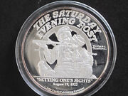 1988 Norman Rockwell Setting One's Sights 2 Troy Oz. Silver Round D8210