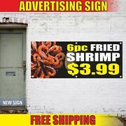 6pc Fried Shrimp 3 Advertising Banner Vinyl Mesh Decal Sign Bbq Grill Seafood