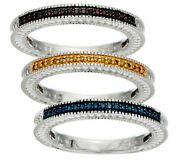 Set Of 3 Diamond Stack Rings, Sterling 1/4 Cttw, By Affinity Size 6 Qvc 175