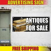 Antiques For Sale Advertising Banner Vinyl Mesh Decal Sign Old Curio Pawn Thrift