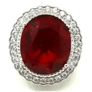 Vintage Antique Ruby Moissanite Ring Women Anniversary Jewelry 14k White Gold