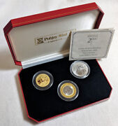 2000 Isle Of Man 3 Coin Set - 5 Pnd Titanium 1/2 Crown Bi-metal 1/2 Crown Gold