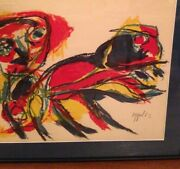 Karel Appel Lithograph Man And Animal Hand Signed Limited Edition 158/210