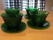 4 Pc Set Vintage Anchor Hocking Forest Green Sandwich Custard Cups And Saucer