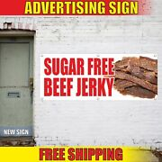 Sugar Free Beef Jerky Advertising Banner Vinyl Mesh Decal Sign Meat Diet Shop 24