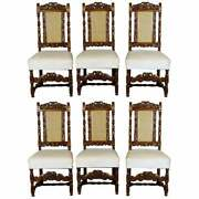6 Vintage Carved Walnut Gothic Style Dining Chairs By Kittinger 20th Century