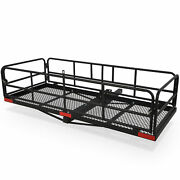 Foldable Hitch Cargo Carrier 60x 24x 14 Basket Trailer 500 Lbs Capacity