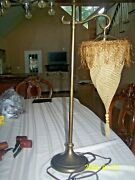 Tall Metal Modern Accent Table Lamp With Antique Metal And Material Shade Repair