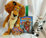 Madagascar Lot 9 Russ Marty Zebra, 14 Toy Factory Alex Lion Plush And Mad 3 Dvd