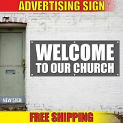 Welcome To Our Church Advertising Banner Vinyl Mesh Decal Sign Christian Jesus