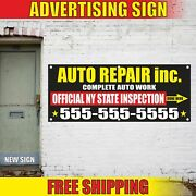 Auto Repair Complete Work Advertising Banner Vinyl Mesh Decal Sign Inspection 24