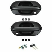 Front Exterior Outside Black Ptm Door Handle With Locks Kit Set 4pc For Odyssey