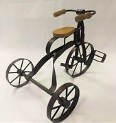 Antique Miniature Metal/wood Toy Tricycle For Display - Near Mint Condition