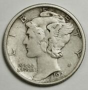 1921-d Mercury Dime. 10 Fully Separated Horizontal Bands. Nice X.f. 140003
