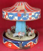 Wolverine Carousel Merry-go-round Tin Litho Lever Wind-up Toy - Parts/repair