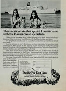 1973 Pacific Far East Line Hawaii Cruise Two Women With Lei Vtg. Print Ad 1354