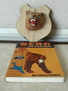 Vintage Rare Wall Bear Plaque And 1967 Boy Scout Cub Scout Of America Bear Book