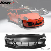 Fits 05-12 Porsche Carrera 911 997 To 991 Gt3 Rs Style Front Bumper Cover W/ Drl