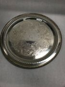 12 In. Round Silver Plate Wm Rogers 16 Platter Vintage Etch