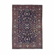 4and0397x6and03910 Navy Blue Antique Farsian Tebraz Some Wear Hand Knotted Rug R47359