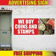 We Buy Coins And Stamps Advertising Banner Vinyl Mesh Decal Sign Pawn Shop Loans
