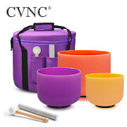 Cvnc Perfect Pitch 432hz 8e+10d+12b Colored Crystal Singing Bowl Carry Case