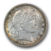 1907 D 50c Barber Half Dollar Uncirculated Mint State Lustrous Beauty R376