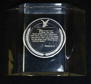 1986 Dr Robert Schuller Eagles Club Silver Hour Of Power Medal In Lucite