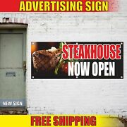 Steakhouse Now Open Advertising Banner Vinyl Mesh Decal Sign Bbq Grill Bar Meat