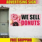 We Sell Donuts Advertising Banner Vinyl Mesh Decal Sign Coffee Mini Croissant 24