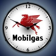 Mobilgas Wall Clock, Led Lighted Gas / Oil Theme