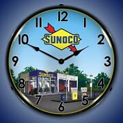 Sunoco Station 2 Wall Clock Led Lighted Gas / Oil Theme
