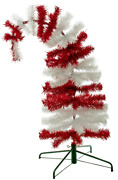 Dr. Seuss Themed Red And White Tinsel Christmas Tree Cat In The Hat 5ft Tall