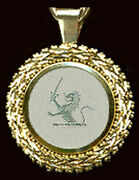 Heavy 14k Lion Crest Pendant On Vf Antique Chinese Mother Oand039pearl Game Counter