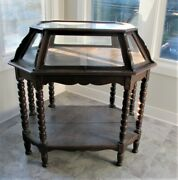 Large Gorgeous Mid-19th C. Display Cabinet W/ Glass Top And Sides C. 1860 Antique